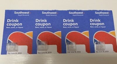 Southwest Drink Coupons - Count 4 Four 06/30/2019 Expiration
