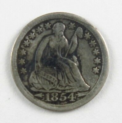 1854 Arrows Liberty Seated Half Dime 5C United States Silver Coin #9