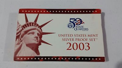 2003 US Mint SILVER Proof Set in Red Box with COA - 10 Coins Clean Blemish-free