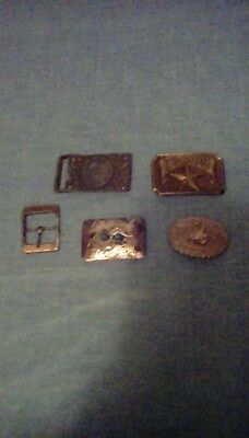 Lot Of 5 Vintage Belt Buckles