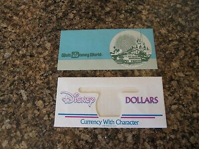 2  Different Vintage DISNEY DOLLAR ENVELOPES--envelopes only -1987,1988