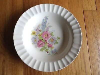 """1942 Edwin Knowles China bowl spring bouquet floral 8"""" diam. USA vintage"""
