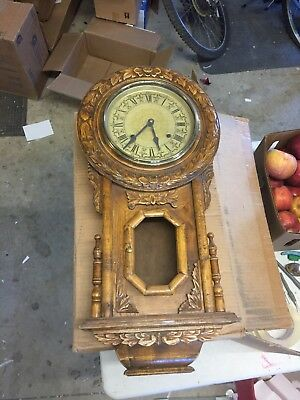 Beautiful Antique Hand Carved Wooden Clock Hanging Grandfather Style Very Unique