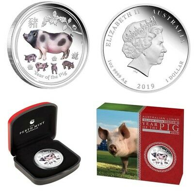 2019 Australia Lunar Year of the PIG 1 Oz Silver .9999 Colorized Coin NO RESERVE