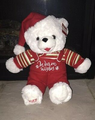 """2017 Walmart Christmas Snowflake Teddy Bear 20"""" Boy with Red & Green Outfit"""