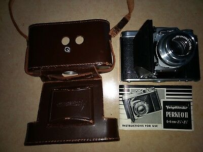 Voigtlander Perkeo II 6x6.21/4 x 21/4 With Case and instruction book