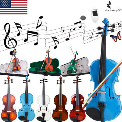 Kids Acoustic Violin Beginner Student Fiddle Instrument Case Bow+Extra Strings