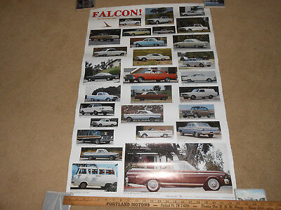 """1960 - 1965 FORD FALCON & RANCHERO """"NEW SIZE FORD"""" 23 by 35 POSTER /  BROCHURE"""