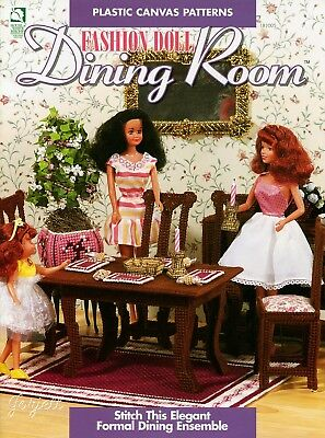 Fashion Doll Dining Room ~ fits Barbie dolls, plastic canvas pattern booklet