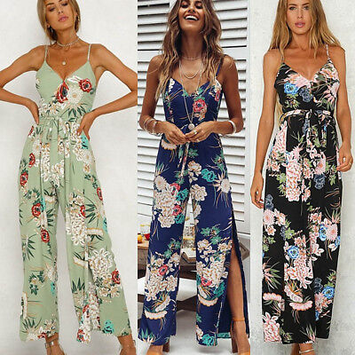 Women V Neck Floral Backless Jumpsuit Long Pant Playsuit Strappy Overall Trouser