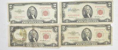 Lot (4) Red Seal $2.00 US 1953 or 1963 Notes - Currency Collection *459