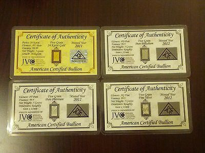 Gold, Silver, Platinum, Palladium 5GRAIN Combo BULLION MINTED FOUR Bars w/COAs +