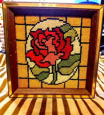 Vintage Rose Stained Glass Embroidery. Square Wooden Frame. Gold Accents.