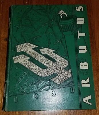 Vintage 1938 INDIANA UNIVERSITY Yearbook ARBUTUS IU Hoosiers Big 10 Advertising
