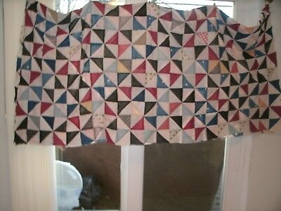 Vintage Pinwheel Quilt Top With Black Prints for Industrial and Country Spaces