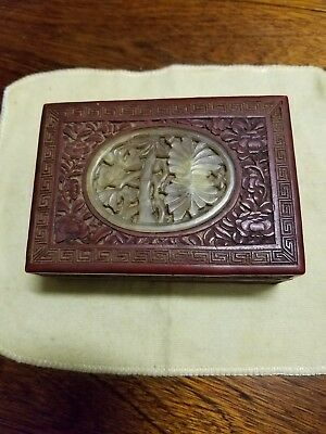CHINESE VINTAGE RED CINNABAR BOX with Jade