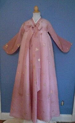 Hanbok Korean Traditional Costume Dress Set Women Pink with Gold Floral Accent