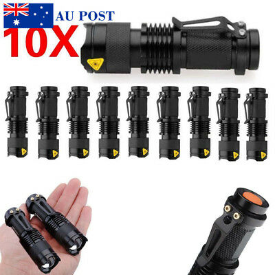 Mini CREE Q5 LED Flashlight Torch Adjustable Focus Light Lamp Black Aluminum