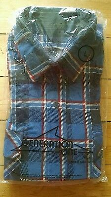 New Vintage 70s Generation One Men's Blue Flannel Shirt Large Made in Costa Rica