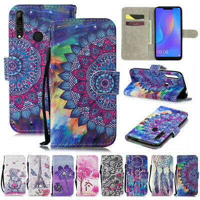 For Huawei P Smart +/2019 P20 P10 P9 Lite Painted Leather Wallet Flip Case Cover