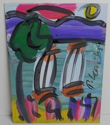 Peter Keil Signed German Neo-Expressionist Abstract Art Painting 1985