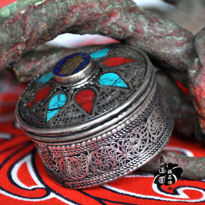 OLD Tibet Buddhist Tibetan silver handmade wire inlay Turquoise Red box