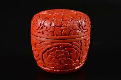 G2284: Chinese Resin Flower Arabesque sculpture TEA CADDY Chaire Container