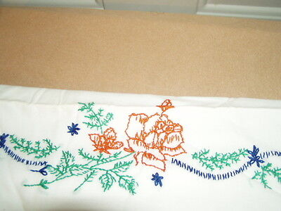 Vintage------------ embroidered  WHITE----- --- pillow case.  ------1  TOTAL