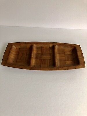 Mid Century Modern Vintage Weave Wood Walnut Sectioned Serving Tray EUC