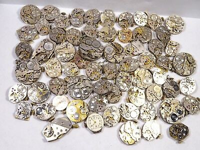 Lot of 136 Vintage Mixed Manual Wind Ladies Wrist Watch Movements for Repair