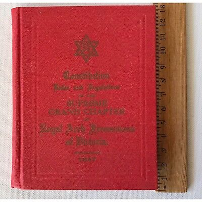 Masonic Constitution Laws Royal Arch Freemasons Victoria  Grand 1947 Exc Book