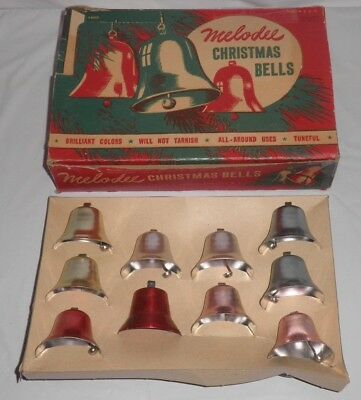 "Melodee Christmas Bells In Box, 10 Metal, Mixed Colors, 1"" Tall, U.S.A., Vintage"