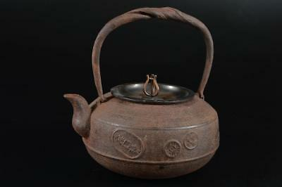 G1601: Japanese XF Iron Shapely TEA KETTLE Teapot Tetsubin w/copper lid