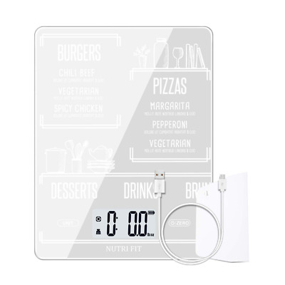 Digital Kitchen Scale Multifunction Rechargeable Food with Dough Scraper NEW US