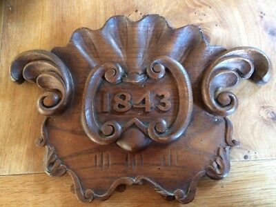 Antique Hand Carved Wood Plaque 1843 Elm?