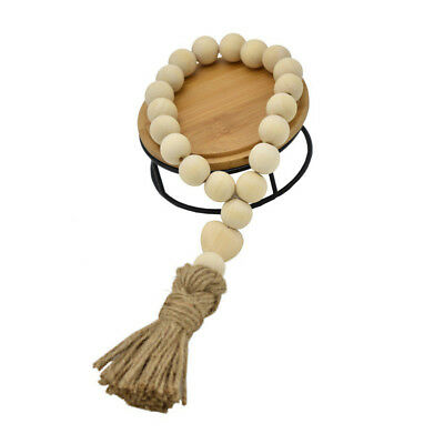 QA_ Nordic Heart Wooden Beads Tassels Hanging Ornament Home Wall Decoration Ar