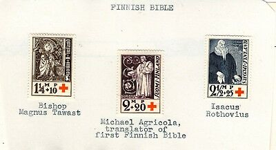 Finland Set Of 3 Religious Bible Stamps, Mint-Hinged On Paper Cv $18++