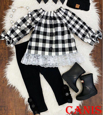 USA Toddler Kid Baby Girl Long Sleeve Plaid Lace Dress Pants Outfits Set Clothes