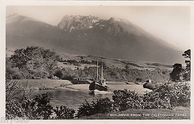 Postcard Ben Nevis from the Caledonian Canal Scotland with boat RP