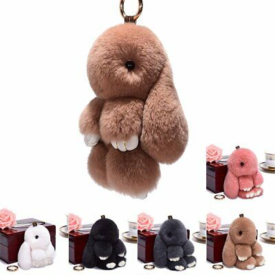 Adorable Fur Bunny Fluffy Rabbit Plush Toy Keyring Bag Charm Pendant Keychain ON
