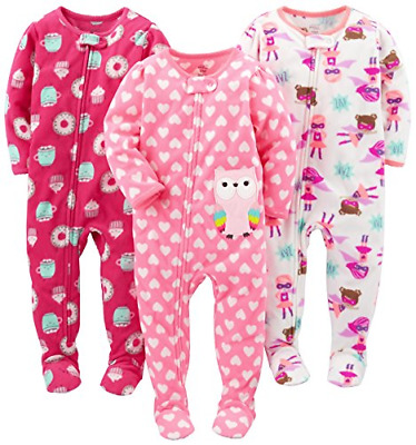 Simple Joys by Carter's Baby Girls' 3-Pack Flame Resistant Fleece Footed 18