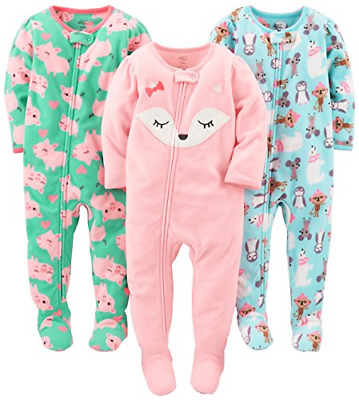 Simple Joys by Carter's Baby Girls' 3-Pack Flame Resistant Fleece Footed Polar