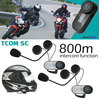 2x Freedconn Motorcycle Helmet Bluetooth Intercom Kit FM Radio Interphone K6Z1
