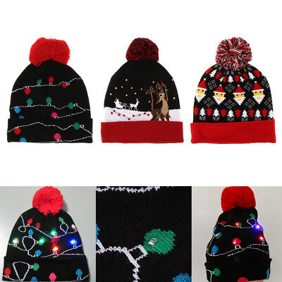 654c91acdce56 3PCS Unisex LED Light-up Ugly Christmas Hat Beanies Knitted Xmas Party Cap
