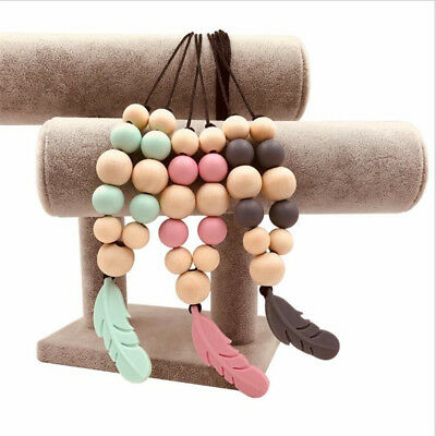 Silicone Feather Beads Teething Necklace Baby Teether Chew Toy Jewellery 8C