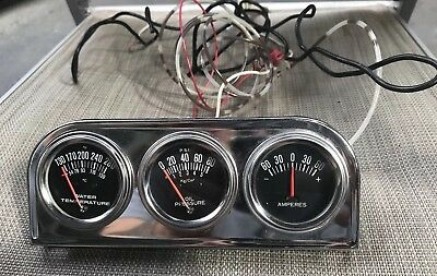 Universal Set Of 3 Brand New Water Temp, Oil Pressure & Amperes Car Gauges!!