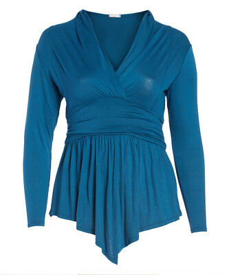 Long Sleeved T-Shirt Size 16 Teal Surplice Tunic Top