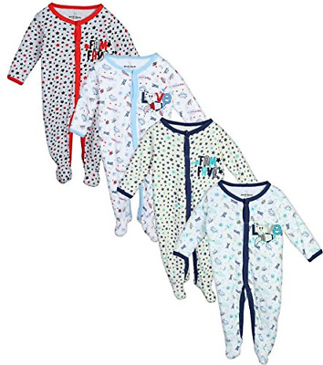 Duck Duck Goose Baby Boys & Girls 4 Pack Cotton Footed Sleep and Play, 6-9