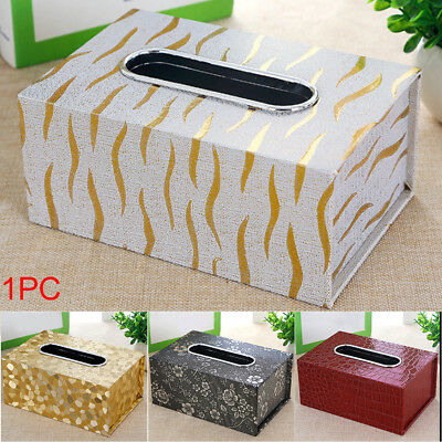 PU Leather Tissue Box Holder Home & Office Storage Cases For All Room Gifts AU