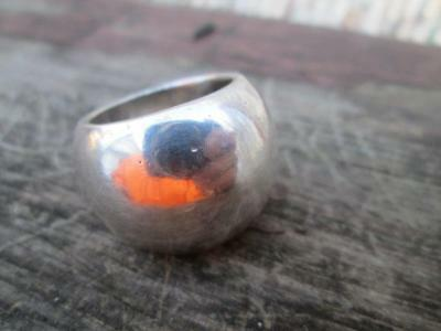 Vintage Solid Sterling Silver Heavy Wide Band Ring 22 grams Size 8
